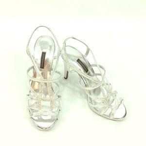 Caparros Strappy Metallic Silver Heels Size 10